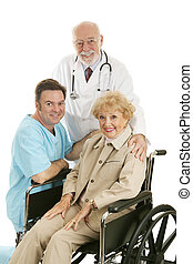 Doctor Nurse & Patient - Senior lady in wheelchair with her...