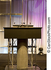 Podium with Microphone on a Stage
