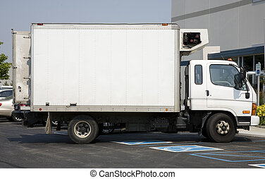 White Truck with Blank Space for Advertising Message