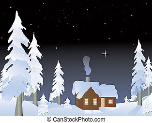 Cabin in the woods - cabin in the snowy woods at night