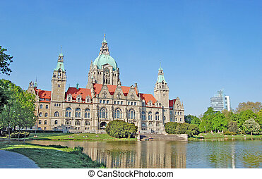 City hall in Hanover - View on the City hall in Hanover with...