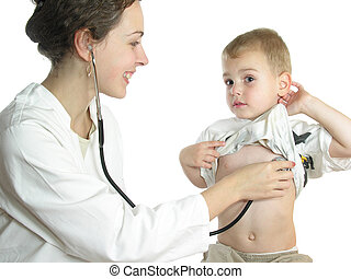 Doctor assessing patient by stethoscope