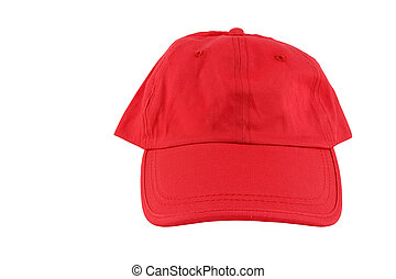 Red baseball cap isolated on white - Red baseball cap...