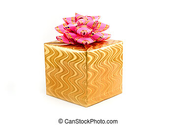 Fancy box - Gift box of yellow color with a pink tape