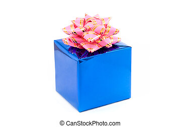 Fancy box - Gift box of blue color with a pink tape