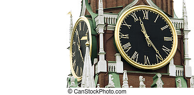 Old clock on tower Russia, kremlin chimes - part of old...