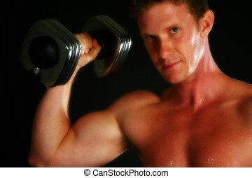 Sexy Weight Lifter - Attractive thirty something man with...