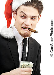 bad santa - portrait of corporate suit man playing bad santa