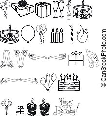 Birthday Silhouettes - Illustration of Birthday Silhouettes