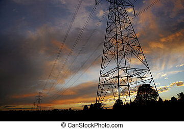 Powerlines at sunset2 - Silhouettes of power lines and...