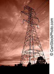 Powerlines at sunset5 - Silhouettes of power lines and a...