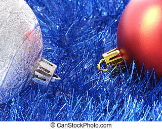 christmas design with colorful baubles and blue tinsel...