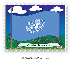 Stamp United Nations - Stamp with flag from United Nations