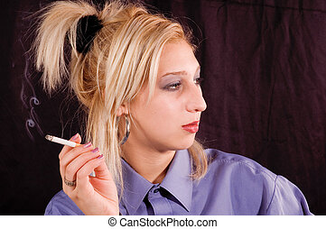 Smoking - Young beauty blondie girl enjoyment with smoking...