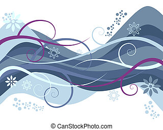 Wavy colored vines with flowers and wave patterns
