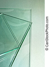 Glass - Three sheets of plain glass toned in green