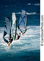 Lineup - A line of three windsurfers off the coast of Maui