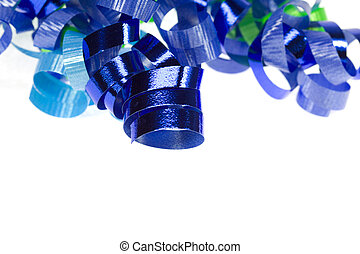Blue curly ribbon isolated over white