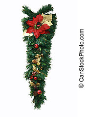 mistletoe - green christmas mistletoe isolated on white...
