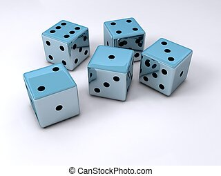 Dice - Five dice cubes on white surface