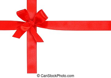 Ribbon with Bow - Red ribbon with bow isolated on white...