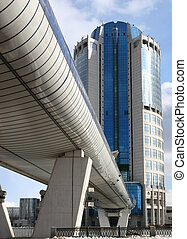 office building and bridge