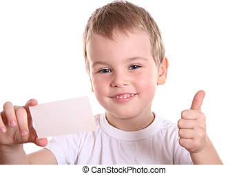 boy with card for text - boy giving OK with card for text