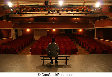 on theater scene - man alone on theater scene