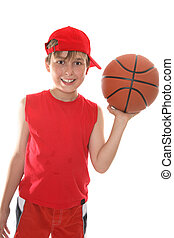Happy child holding basketball - Hot, smiling child holding...