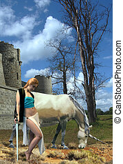Girl with an unicorn - fantasy Girl with an unicorn at...