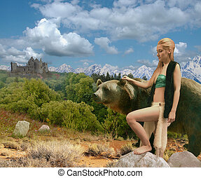 Girl with a bear. Two towers