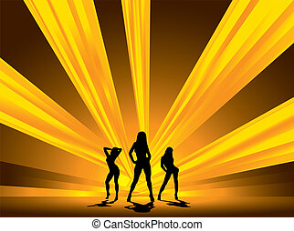 blinding dancers - three female dancers set against a...
