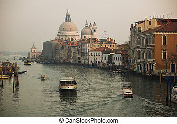 Venice, view from the Academia Bridge in winter
