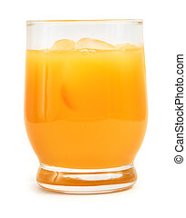 freshly squeezed orange juice against white background,...