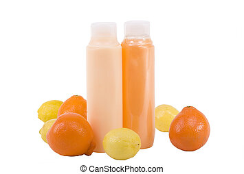 Hygienic Supplies With Fruits - Shampoo and conditioner in...