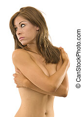 Topless woman covering with arms