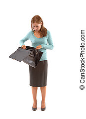 Business woman looking in briefcase