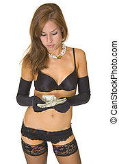 Woman counting money - woman in lingerie counting money