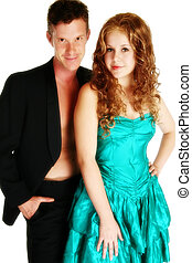 Attractive Young Couple - Attractive young couple over white...
