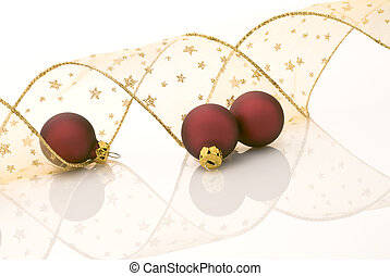 christmas decoration - Satin red balls and golden ribbon...