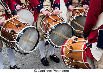 Colonial drummers in Jamestown, Virginia