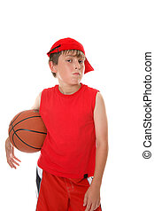 Basketball rest break - A hot and sweaty young player with...