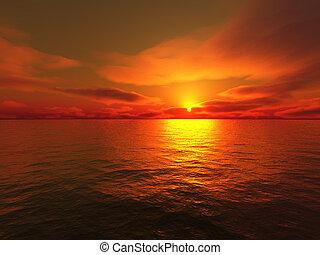 sundown on sea