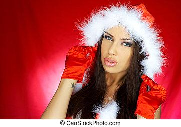 Santas Woman - Portrait of beautiful brunette woman wearing...