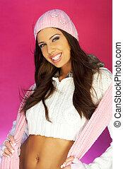 Pink One - Portrait of beautiful woman wearing white sweater...