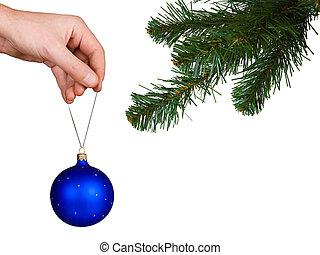Cristmas tree, hand and ball