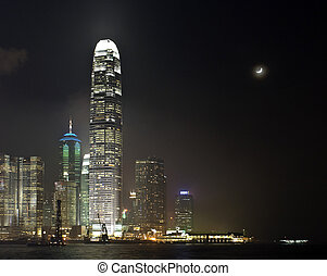 Hong Kong Moon night - Central Business district of Hong...