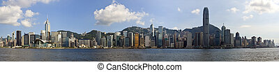 Hong Kong panorama of city on a beautiful blue sky day...