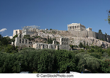the rock of parthenon and herodion theatre landmarks of...