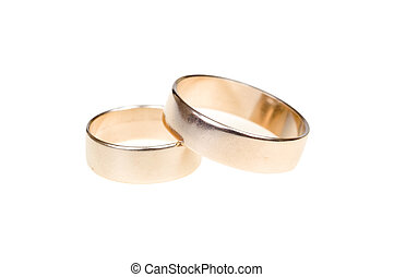 Wedding rings - Gold wedding rings isolated on white...